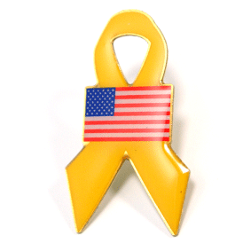 Stock Yellow Ribbon Pin with flag