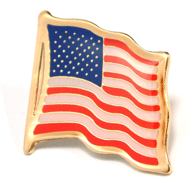 Stock American Flag Lapel Pin - Etched