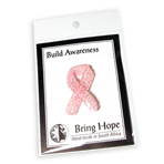 Stock Awareness - Pink - Beaded Ribbon Pin