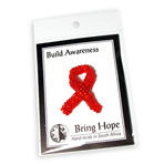 Stock Awareness - Red - Beaded Ribbon Pin