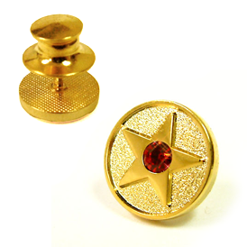 Star - Deluxe Gold Star lapel pin Red Crystal Gem