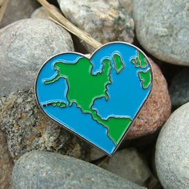 GO GREEN! - Earth Heart Lapel Pin
