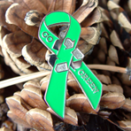GO GREEN! - Ribbon Lapel Pin CLEARANCE