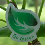 GO GREEN! - Green Leaf Printed Lapel Pin CLEARANCE