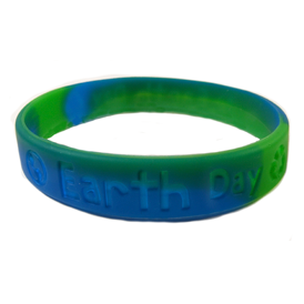 Awareness Wristband - Earth Day Green & Blue swirl